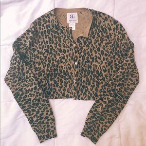 cheetah button up crop cardigan